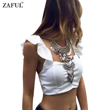 ZAFUL Sexy Women Tops Back Strap Square Neckline Cap Sleeves White Bowknot Women Mini Bra Maid short tops feminino party tops