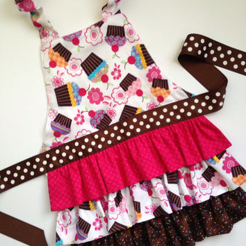 Pink Cupcake Apron, Girl's Frilly Apron, Ruffle Apron for Girls