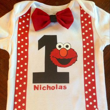 Elmo Bowtie Suspender Onesuit or Shirt