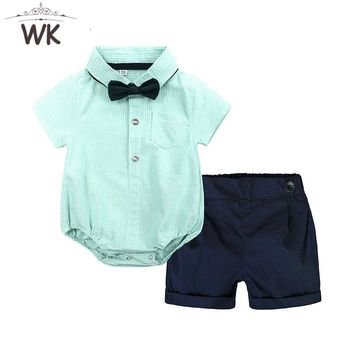 JY-388 Baby Clothing Set Newborn Baby Boy Clothes 2PCS Set Summer Infant Boy bow rompers Top+Shorts Outfits Set Baby formal wear