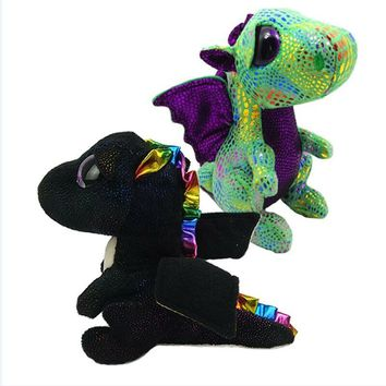 "Ty Beanie Boos 6"" 15cm Saffire the Dragon Plush Regular Soft Big-eyed Stuffed Animal Collection Doll Toy with Heart Tag"