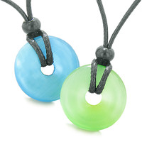 Yin Yang Best Friends or Love Couples Lucky Coin Donuts Sky Blue Neon Green Cats Eye Amulet Necklaces