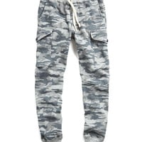 Camo Cargo Sweatpant in Grey