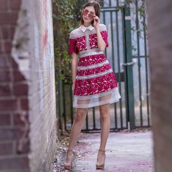 Red Vintage Sea Embroidered Dress