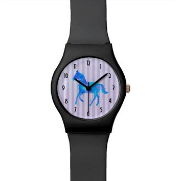 Wild Horse in Blue and Purple Watercolor Watch