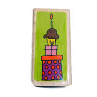 Cupcake Birthday Presents Rubber Stamp