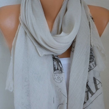 Beige Cotton Scarf Paris Souvenir Spring Summer Shawl Soft Cowl Oversized Wrap Gift Ideas For Her Women Fashion Accessories Women Scarves