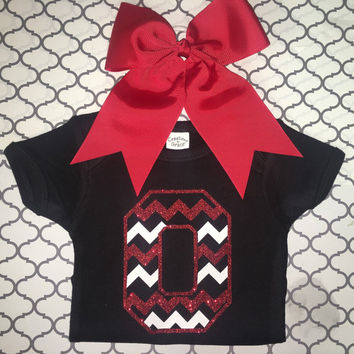 Ohio State Glitter Red & White TOP ONLY!!