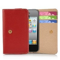 Card Wallet Style Premium Leather Case Pouch with Credit Card / ID Slots for Apple iPhone 4s / 4