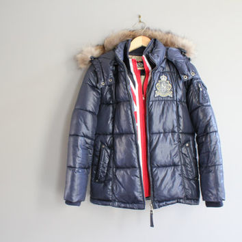 UK Puffer Jacket Raccoon Fur Trim British Flag Jacket Blue Winter Jacket Vintage Size M #O138A