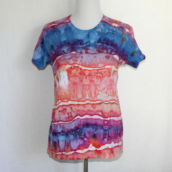Blue and Orange Womens Tie Dye Shirt, Tie Dye Striped Shirt, Heavyweight Tie Dye T-Shirt, Tye Dye Womens Shirt