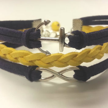 Nautical Anchor Infinity Leather Bracelet for Women & Girls feat. Matching Wire Wrapped Bead Dangle - Customize/Choose Your Colors!