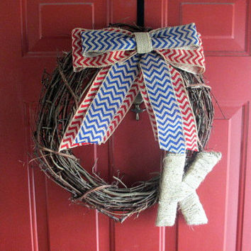 Fourth of July Grapevine Front Door Wreath - Summer Wreath - Monogrammed Wreath - Red and Blue Chevron Burlap Bow - Twine Letter - Easter