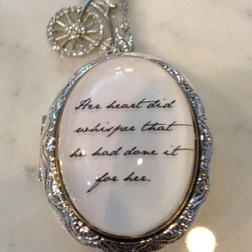 Jane Austen  Pride and Prejudice Her Heart Did Whisper Locket Necklace