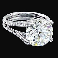 Big diamond 3.51 carat engagement ring white gold new
