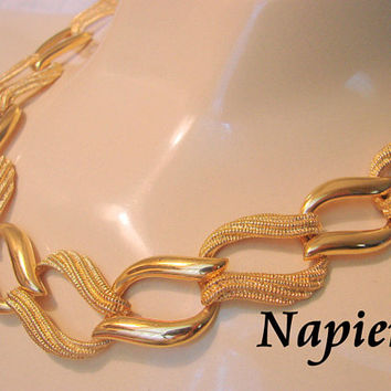 80s Vintage Napier Necklace / Designer Signed / Retro Modernist / Textured Gold Plate / Jewelry / Jewellery