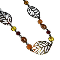 Antique Brass Leaf Necklace with Orange, Cranberry and Gold Beads