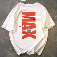 NIKE Air Max New fashion letter hook print couple top t-shirt White
