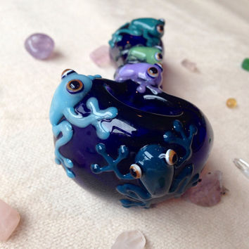 Large, Friendly Frogs on Cobalt Blue Glass Pipe