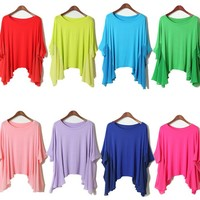 Loose Cotton Top Chiffon Bat Sleeves Top