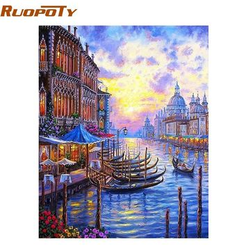 RUOPOTY Venice Sunset Seascape DIY Painting By Numbers Modern Wall Art Canvas Acrylic Paint By Number Unique Gift For Home Decor