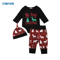 Hot Sale Xmas Newborn Baby Boy Girls Clothes My First Christmas Romper Top Long Pants Hat Outfits Clothes 0-24M