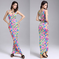 Wrap Summer Print Spaghetti Strap One Piece Dress = 5858606337