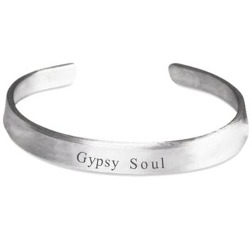 Gypsy Soul Bracelet Funny Sayings Fashion Art Bracelet Jewelry for Women Men Stamped Silver Easter Holiday Gift 2017 2018 Spiritual Motivational Inspirational Happiness Wrist Band Cultur Occult Paranormal Wristband