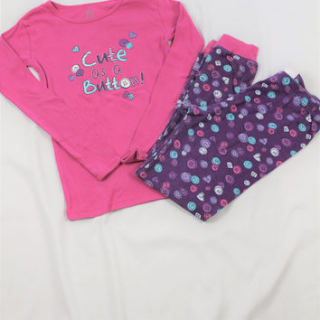 "Girls The Children's ""Cute as a Button"" 2 Piece Pajama Set, size 10"