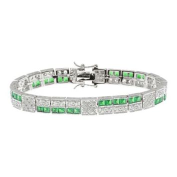 CZ by Kenneth Jay Lane Two-Pattern Vintage 15 cttw Cubic Zirconia Bracelet