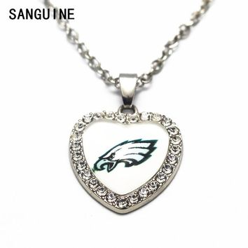 1pcs Philadelphia Eagles Crystal Football Glass Silver Heart Pendant Necklace 50cm Chains For Men Sports Necklace Jewelry gift