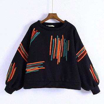 RR Embroidery Sweatshirts Women Fashion O Neck Sweatshirt Women Elegant Long Sleeve Sweatshirts Female Ladies II