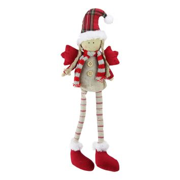 "14"" Sitting Girl Angel with Dangling Legs with a Plaid Hat Tabletop Decoration"