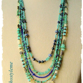Bohemian Jewelry, Gemstone Necklace, bohostyleme, Handmade Layered Necklace, Modern Hippie, Boho Style Me, Kaye Kraus