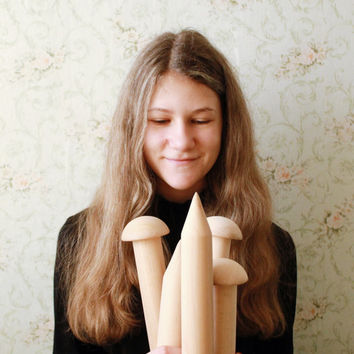"""Large Thick wooden knitting needles - 40 mm in diameter (1,57"""") 500 mm long (19.68"""")"""