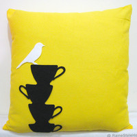 Bird Resting On Black Teacups Sunshine Yellow Pillow Cover. Modern Chic Cushion Cover. Eco Friendly Hand Cut Felt Appliques.Housewarming