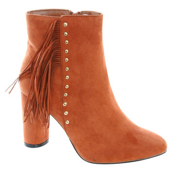 Kinsley Fringe Stud Detail Ankle Boots in Tan Brown