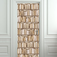 "Door STICKER books ivory library cabinet strapper box mural decole film self-adhesive poster 30""x79""(77x200 cm)"