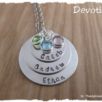Personalized Hand stamped mothers or grandmother stack with birthstones - custom with names - gift for mom grandma grandmother nanny
