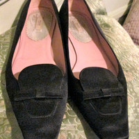 Vintage Prada Satin Shoes / Black Low Heel Women Shoes / Slip On / Size 40