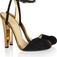 Gucci | Metallic leather and suede sandals | NET-A-PORTER.COM