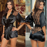 Fashion Women Black Sexy Silk Lace Kimono Dressing Gown Bath Robe Lingerie Nightdress Lingerie Nightwear Underwear G-string = 1932837060