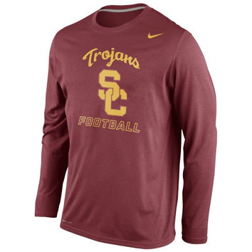 USC Trojans Nike Legend Practice Long Sleeve Performance T-Shirt - Cardinal