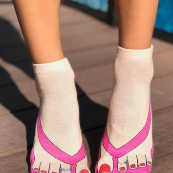 Flip Flops Pale Ankle Socks