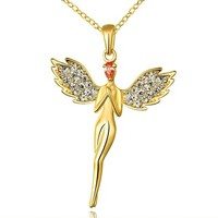 MLOVES Women's Classical Fully-jewelled Angel Pendant Necklace