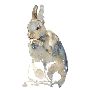 Rabbit Animal Art, Watercolor Painting Art Print Zen Aquarelle Bunnies bunny Giclee print  Aqua Blue Zen
