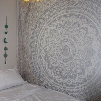"""""""New Launched"""" Popular Handicrafts Kp624 Silver Ombre Tapestry Mandala Hippie Wall Hanging Bohemian Bedspread With Extra Metallic Shine tapestries 84x90 Inches Exclusively By Popular Handicrafts"""