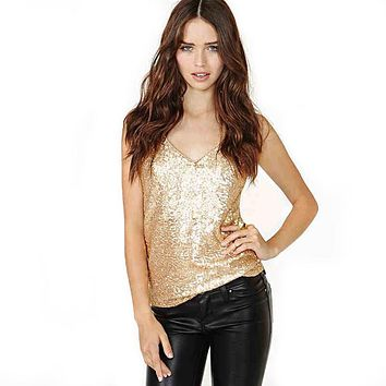 2017 Spring Summer Autumn New Lady Slim Gold Vest Crop Top Sequins Sexy Deep V-neck Tank Tops For Women Party Club Night Wear