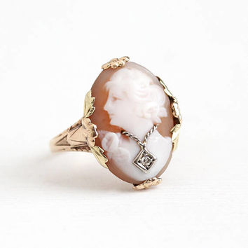 Vintage 10k Rose & Green Gold Diamond Habillé Cameo Ring - 1930s Size 7 1/2 Flower Art Deco Carved Oval Shell Two Tone Floral Fine Jewelry