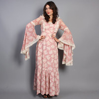 70s BOHO Floral DRESS / Dramatic Lace Trim Sleeves Pink Maxi, s-m